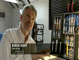 Click to view Derek Hunt interview video  about creating stained and architectural glass art on YouTube