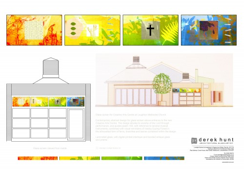 Creative Arts Centre, Loughton Essex architecural glass design presentation board