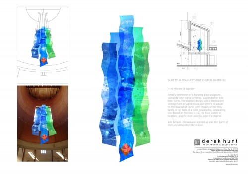 St Felix Church presentation board for sculptural glass design by Derek Hunt