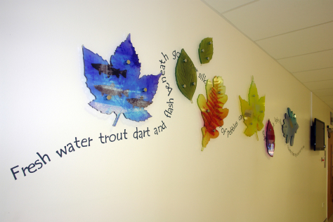 Architectural glass panels by Derek Hunt FMGP for Royal Victoria Hospital Edinburgh depicting life on the River Leith