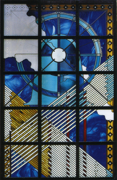 Enlarged detail of upper section with circular geometric pattern in etched, blue and yellow glass at Belfry Shopping Centre by architectural glass artist Derek Hunt