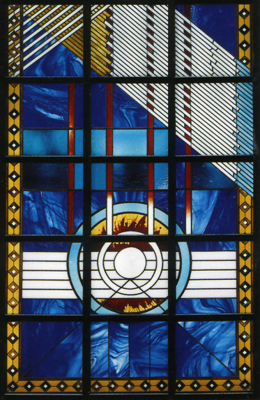 Detail from the lower sector of the architectural glass window design with string linear abstract geometric patterns designed by Derek Hunt stained glass artist