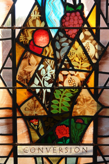Franciscan Convent, Melton Mowbray detail of stained glass design by glass artist Derek Hunt FMGP depicting Third Order Regular Rule, Conversion