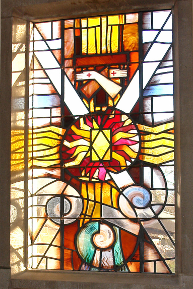 Franciscan Convent, Melton Mowbray detail of stained glass design by glass artist Derek Hunt FMGP depicting Brother Wind