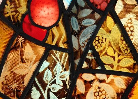 Franciscan Convent, Melton Mowbray close up detail of stained glass design by glass artist Derek Hunt FMGP depicting Third Order Regular Rule, Conversion showing fruits and leaves