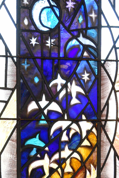 Franciscan Convent, Melton Mowbray detail of stained glass design by glass artist Derek Hunt FMGP depicting birds in flight