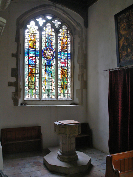 Context view of the stained glass window design by glass artist Derek Hunt at St. Peter & St. Thomas Becket Church, Stambourne
