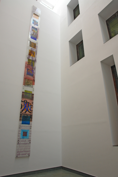 Context view of architectural glass design Totem by Derek Hunt for John Rylands Library, Manchester