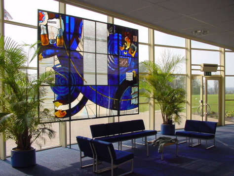 Latimer Theatre, Kettering architectural glass screen context view by glass artist Derek Hunt FMGP ACR