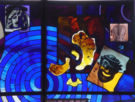 Upper right panel of the design of architectural glass panel by Derek Hunt for Latimer Theatre, Kettering, Northampton