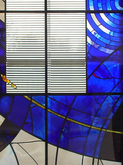 Latimer Theatre, Kettering detail of architectural glass screen with prismatic glass