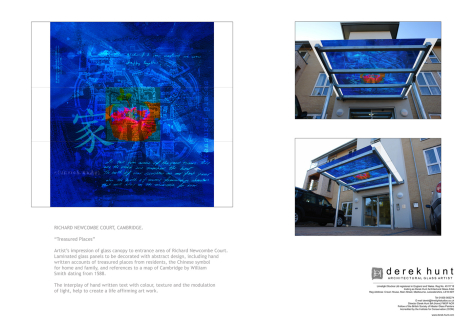 Richard Newcombe Court, Cambridge presentation board deatiling architectural glass designs by artist Derek Hunt