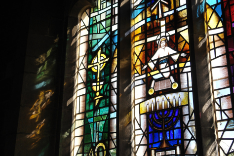 Lower section across three lancets of the design by Derek Hunt FMGP for a stained glass window at St. Barbara's Church, Earlsdon, Coventry