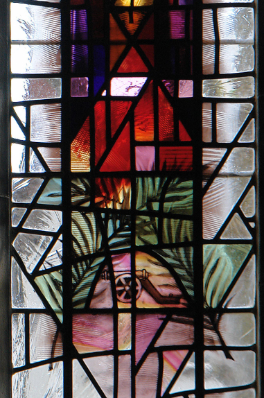 Two crossed palm leaves with cannon, representative of Saint Babara, in the window design for St. Barbara's Church, Earlsdon by Derek Hunt FMGP
