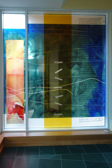St Dunstan's Church, Woking context view of screen 'Proclaim the Good News' by architectural glass artist Derek Hunt FMGP