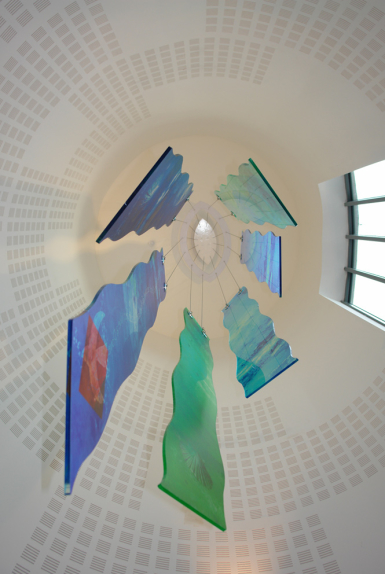 St Felix Church, Haverhill - looking upwards to context view of architectural glass design by Derek Hunt FMGP
