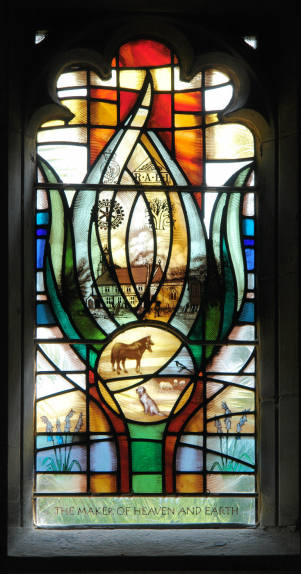 St Helena's Church, West Leake top left lancet of stained glass design by Derek Hunt of distinct image of plant with depictions of St Helen's Church, animals and flowing water