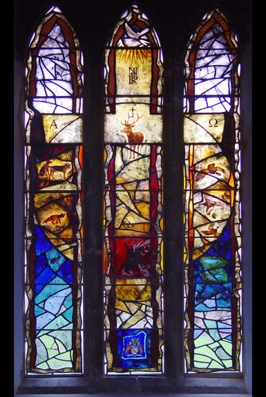 Completed stained glass window design at St Helena's Church, Waltham on the Wolds, Melton Mowbray, Leicestershire by glass artist Derek Hunt FMGP