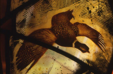 Detail of stained glass window design by glass artist Derek Hunt showing pheasant in flight