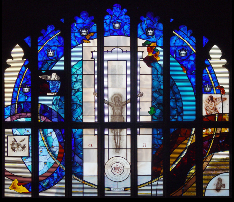 Complete design of stained glass window design by glass artist Derek Hunt at St. John the Evangelist Church, Seven Kings, Essex