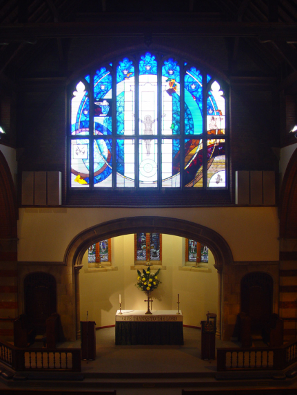 Context image of the design for stained glass window by glass artist Derek Hunt FMGP at St. John the Evangelist Church, Seven Kings, Essex