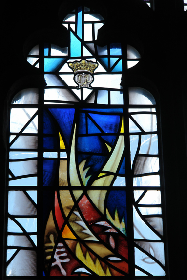 Detail of top of the design, a representation of St. Mary in the form of the Crowned letter M in stained glass window design by glass artist Derek Hunt FMGP