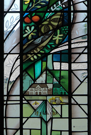 Victorian Almshouses, farming and children dancing round the May Pole in the village in hand painted stained glass window design by glass artist Derek Hunt FMGP