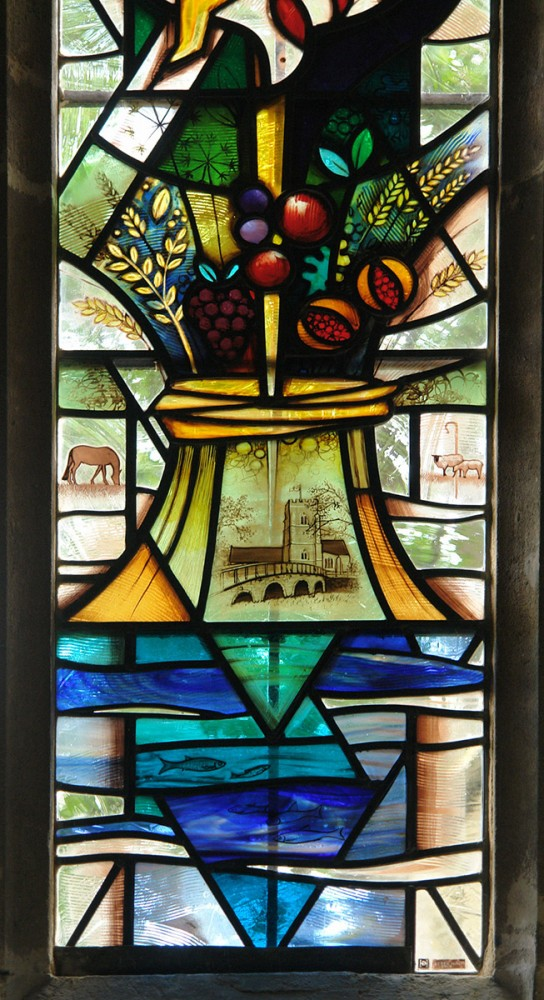 Detail of the companion stained glass window to 'The Waters of Baptism'