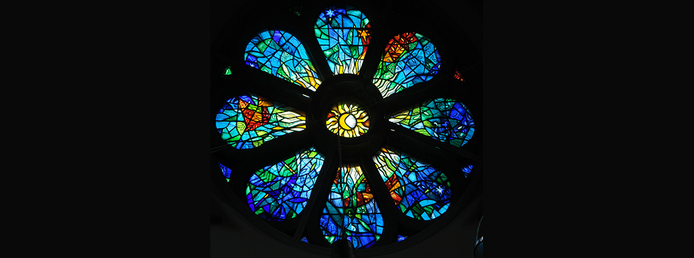 Halle Orchestra, St Peter's Church, Manchester stained glass window design by Derek Hunt