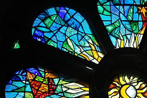 Detail view of the stained glass window installation at Halle Orchestra, St. Peter's Church, Manchester by Derek Hunt stained glass artist