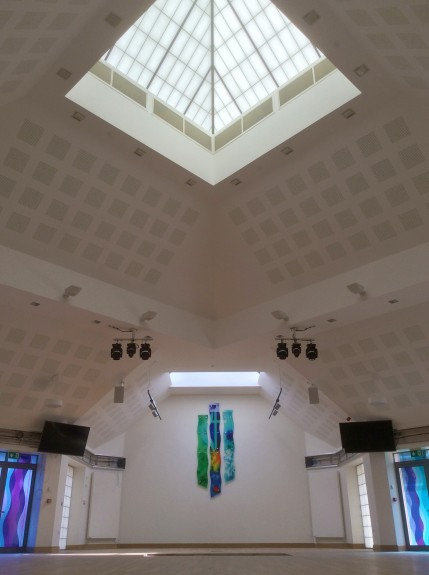 Sanctuary with detail of the roof lights