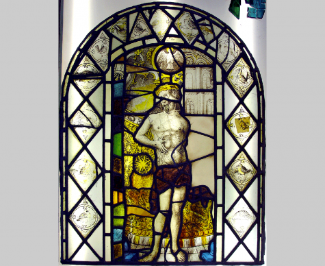 Detail of a stained glass panel conserved and isothermal glazed, Ayscoughfee Hall, Spalding