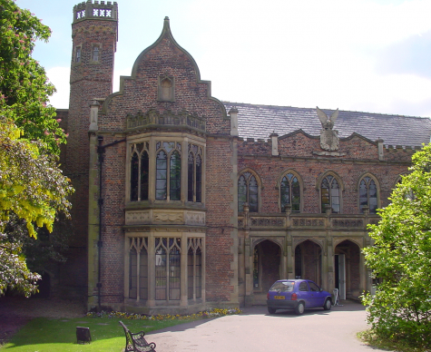 External view of 13th Century glass at Ayscoughfee Hall, Spalding conserved and isothermally glazed by Derek Hunt ICON Accredited stained glass conservator