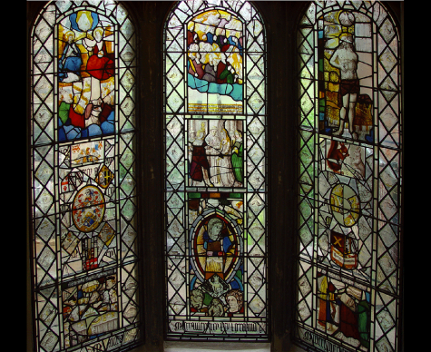 Internal view of 13th century French glass at Ayscoughfee Hall, Spalding, conserved and isothermally glazed.