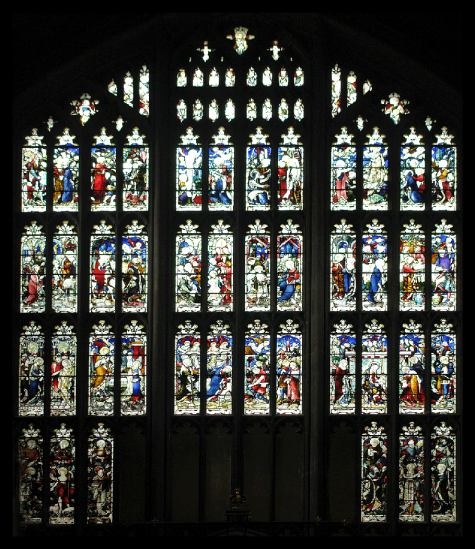 Internal view of the Great West Window conservation at St. Mary's Church, Nottingham City Centre