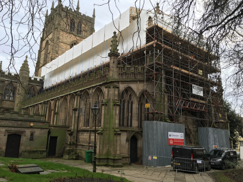 External view of of work in progress to the Great West Window conservation at St. Mary's Church, Nottingham City Centre