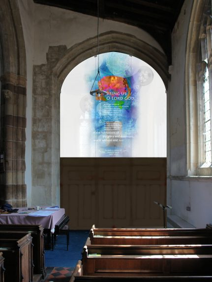 Interior view of the artist's impression for the design of the new glass screen at Blunham Church